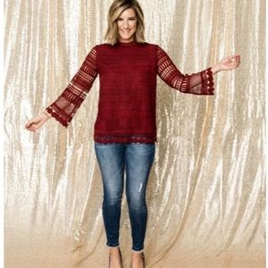 5/$30 NWOT Gibson x Glam Lace Red Blouse